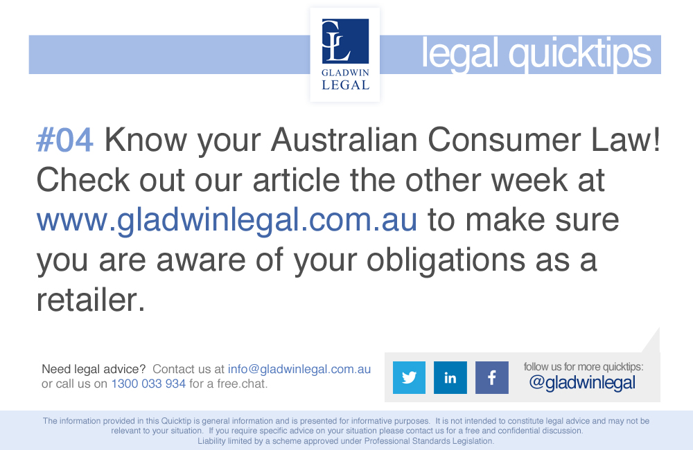 QuickTip: Know your Australian Consumer Law