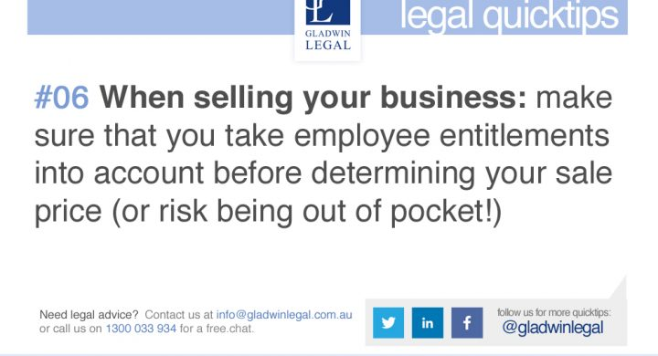 QuickTip: Selling Your Business - Consider Employee Entitlements