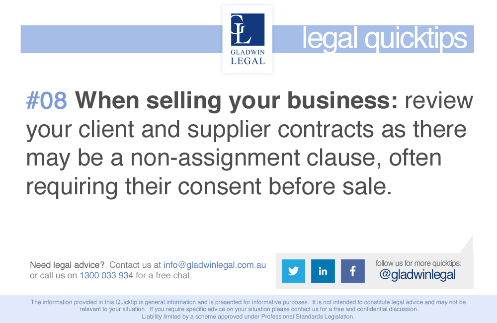 QuickTip: Selling Your Business - review your supplier contracts