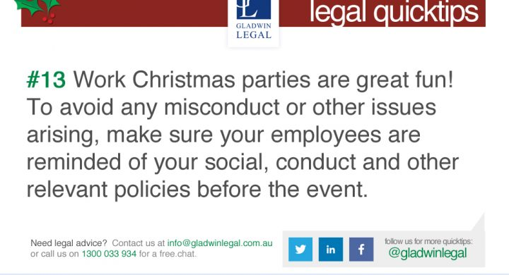 QuickTip: Your liability at work Christmas parties