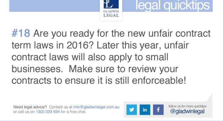QuickTip: Are you ready for the new unfair contract term laws?