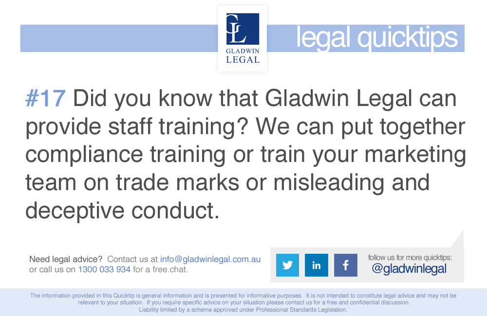 QuickTip: Did you know that Gladwin Legal can provide staff training?