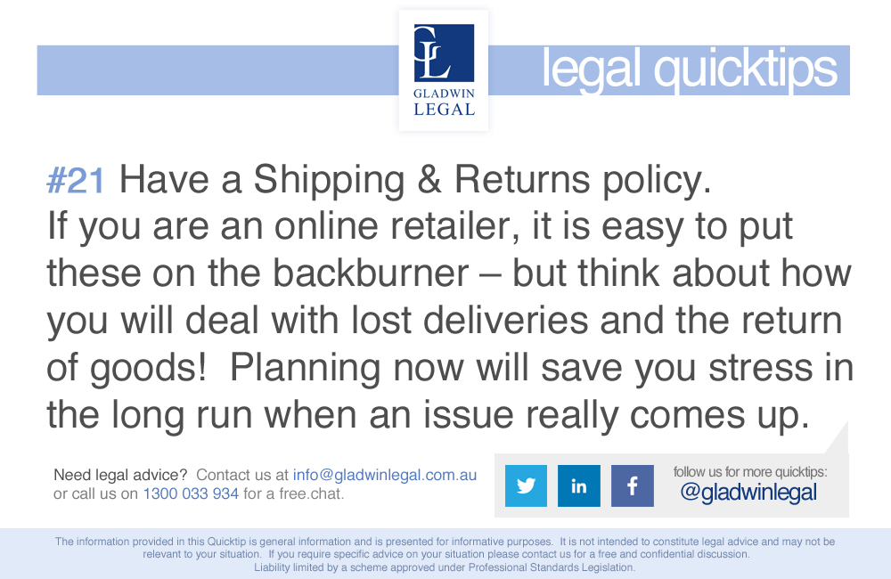 QuickTip: Have a Shipping & Returns Policy
