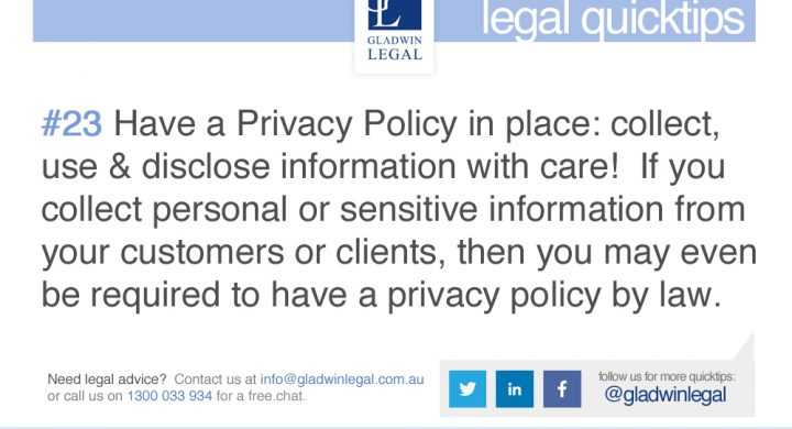 QuickTip: Have a Privacy Policy in place