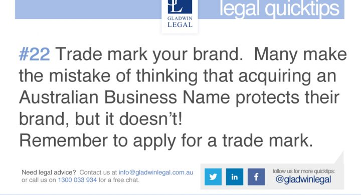 QuickTip: Trade mark your brand