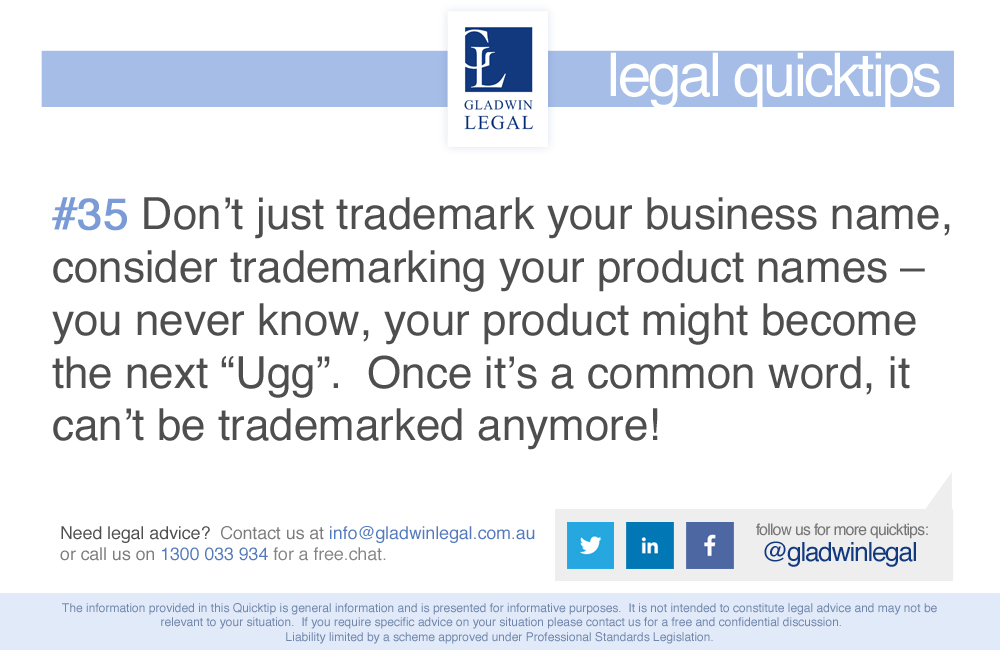 QuickTip: Trademark your product names